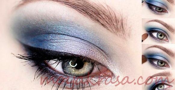 какие тени подходят к голубым глазам