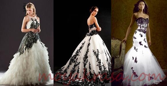 Свадебное платье чёрно белое