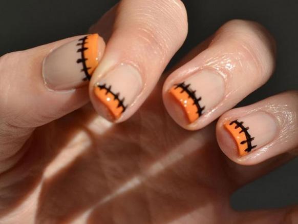 маникюр оранжевый на хэллоуин