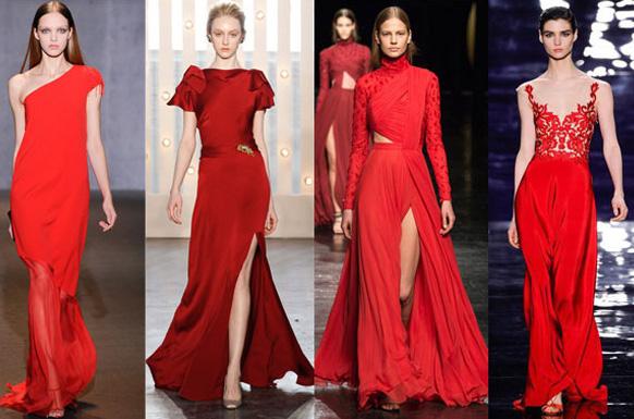 девушкив красных платьях