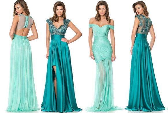 девушки в синих платьях