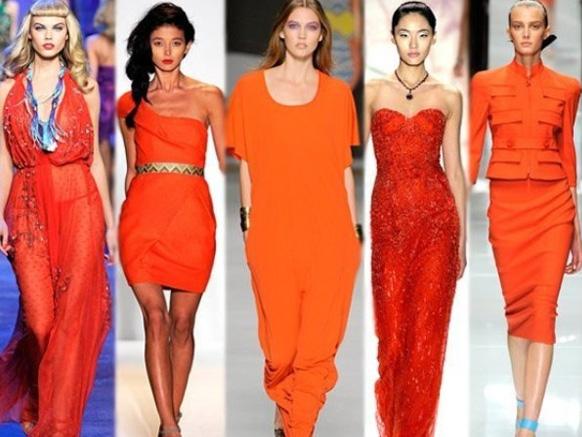 длинные оранежевые платья