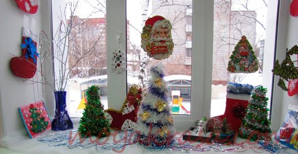 украшение окна нановый год