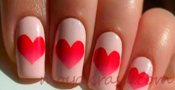 красные сердечки на ногтях