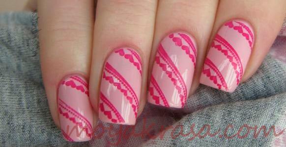 сердечки с линиями на ногтях