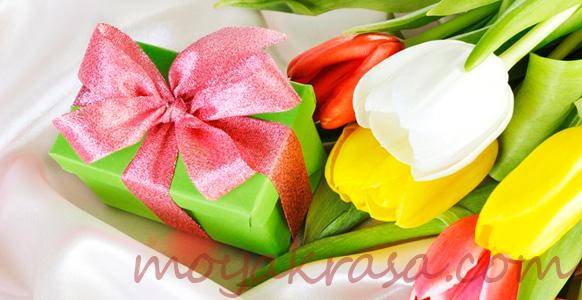 подарок с тюльпанами