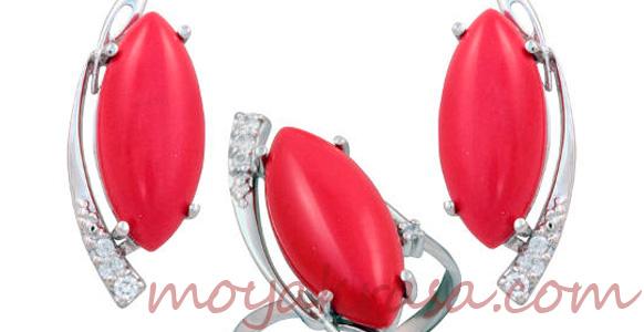 кольца с красным кораллом