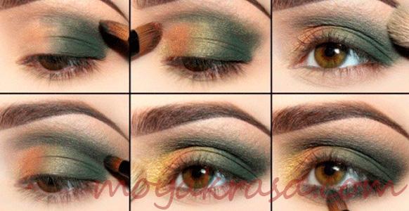 изумрудный макияж для карих глаз