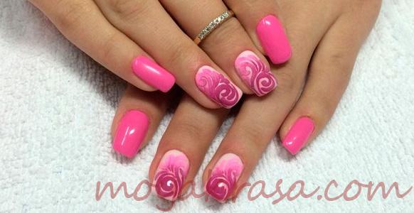 двухцветный розовы маникюр