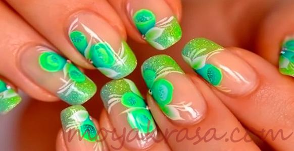 френч с зеленым рисунком