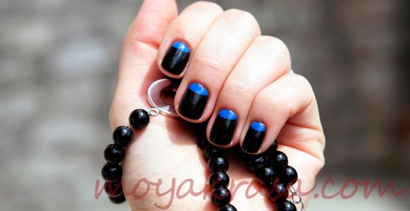 лунный маникюр в черно-синем цвете
