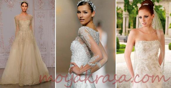 девушки в кружевных свадебных платьях