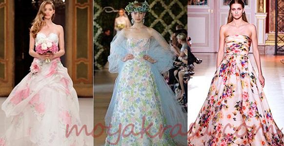 свадебное платье с акварельными мотивами