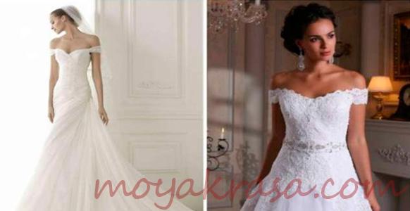 свадебное платье открытыми плечами