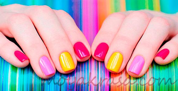 маникюр гель-лаком разноцветный