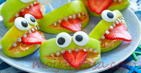 оригинальное блюдо из фруктов для детского стола
