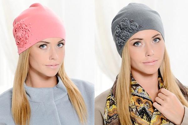 облегающая трикотажная женская шапка
