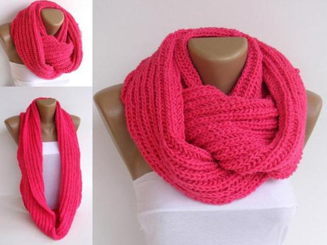 розовый шарф снуд