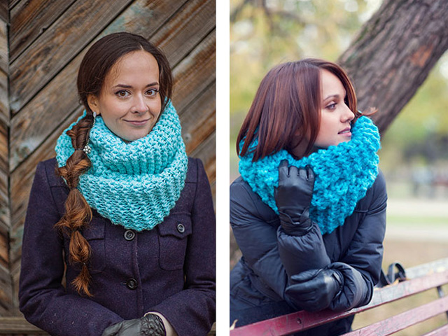 девушка в шарфе-хомуте
