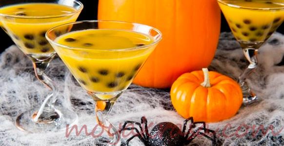 коктель на хэллоуин в стиле тыквы