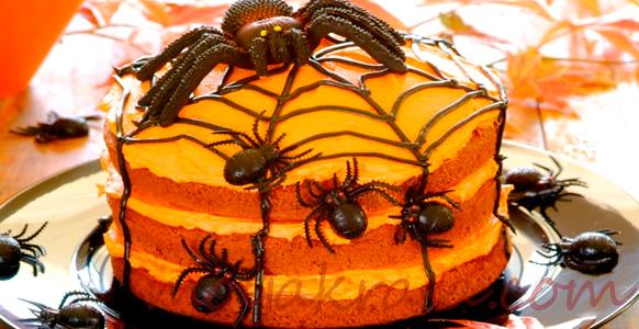 тыквенный пирог с шоколадным паучком