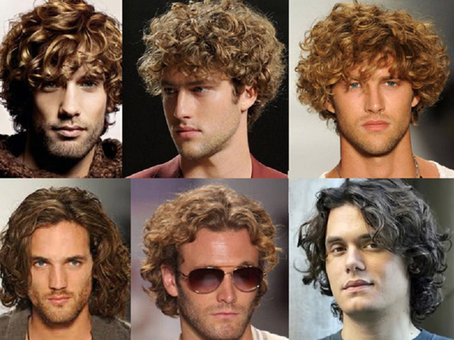 Мужская прическа для кудрявых волос средней длины