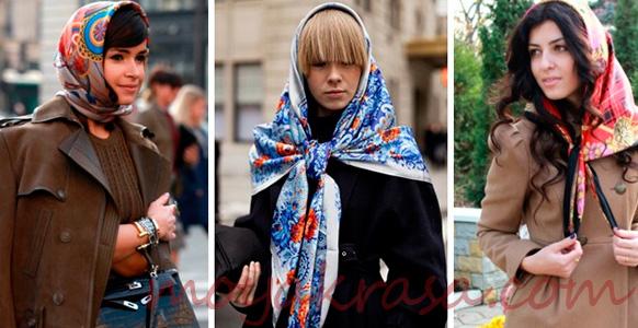 варианты ношения платка на голове