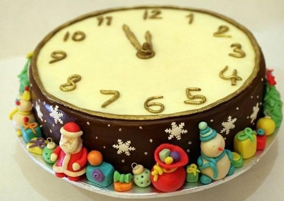 торт с часами из мастики