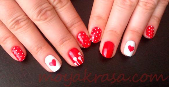 красный маникюр на коротких ногтях
