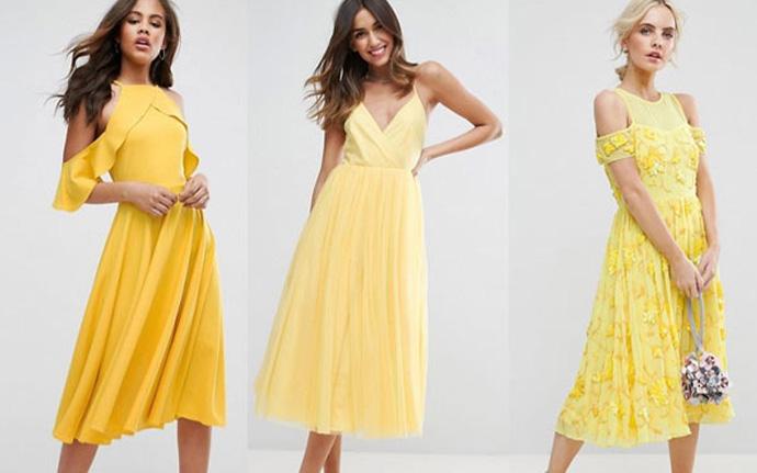 желтые платья для встречи Нового 2018 года