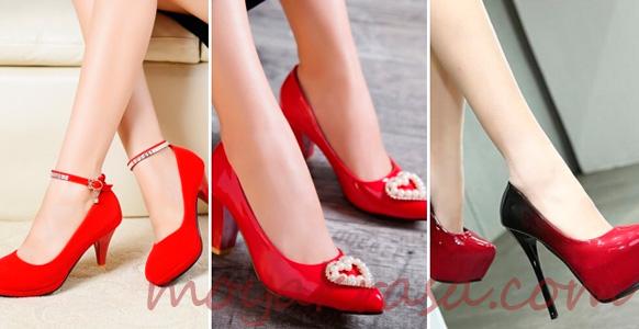 модели красных туфель