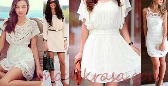 летние короткие платья белого цвета