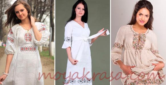 девушки в белых платьях с вышитыми узорами