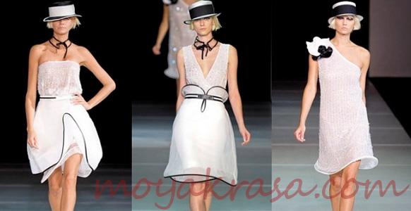 белые платья с черной отделкой по краям