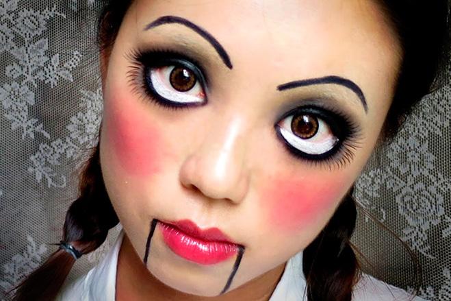 макияж на Хэллоуин к образу куклы