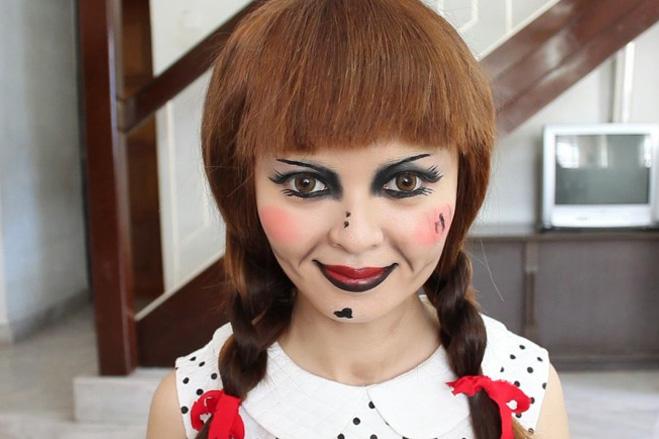 макияж к образу куклы Аннабель