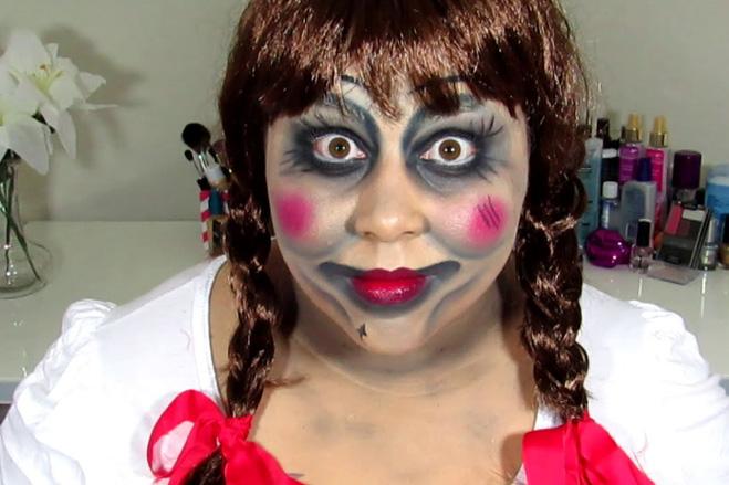 страшный макияж к образу куклы на Хэллоуин