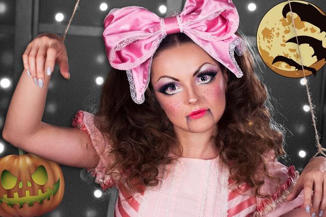 макияж к образу куклы принцессы на Хэллоуин