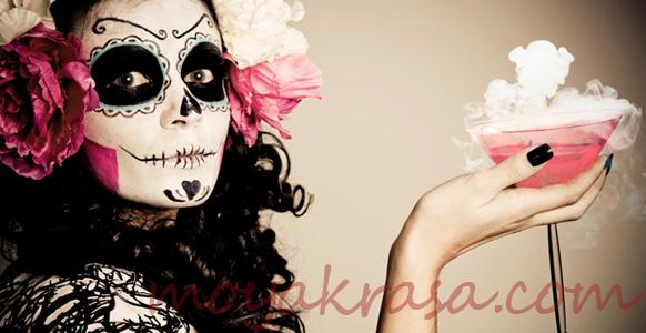 девушка в гриме на Хэллоуин