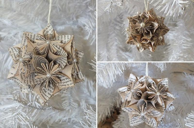 новогодние игрушки на елку из бумаги