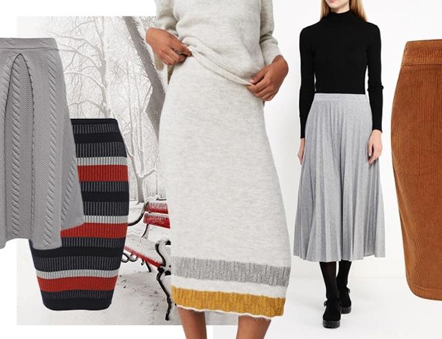 стильные шерстяные юбки