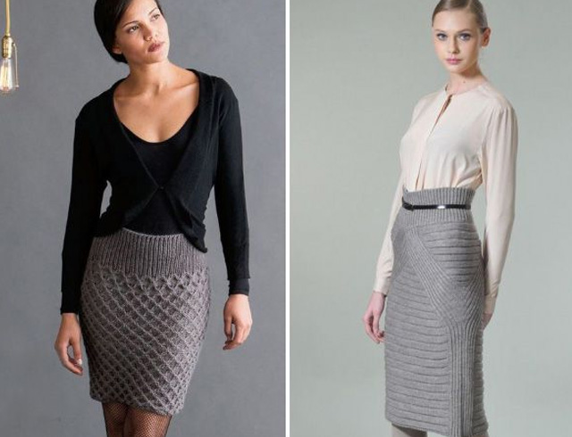 вязанные юбки для зимы