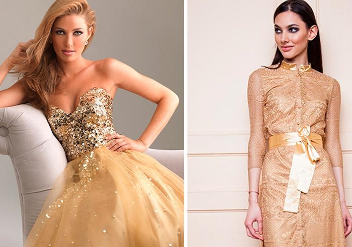 золотистое платье на Новый 2019 год