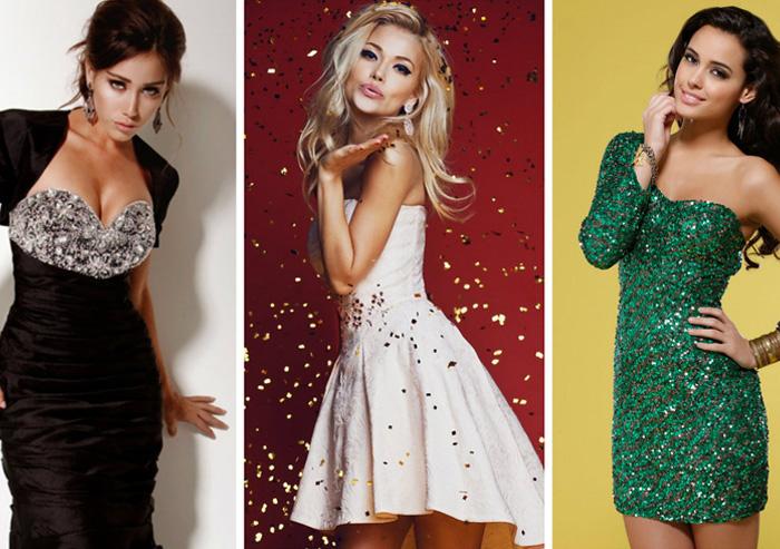 стильные короткие новогодние платья