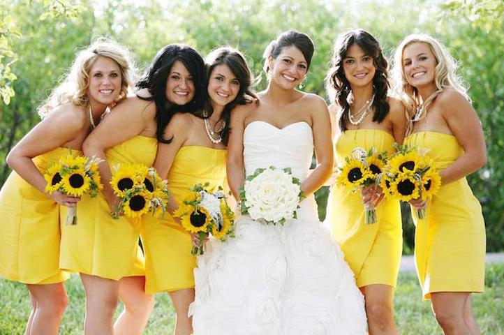 желтые платья для подруг невесты