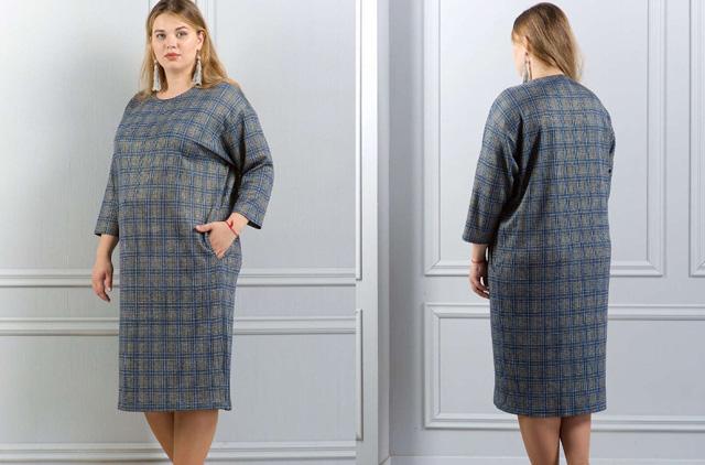 платья в клетку для полных женщин