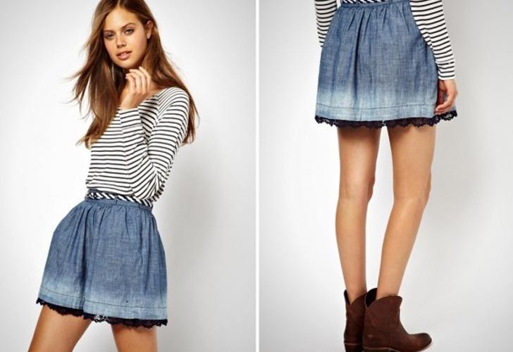 легкая летняя джинсовая юбка