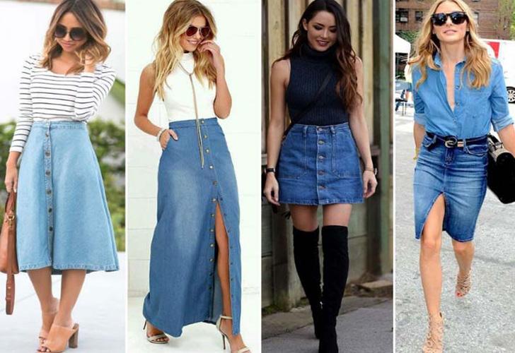 девушки в джинсовых юбках