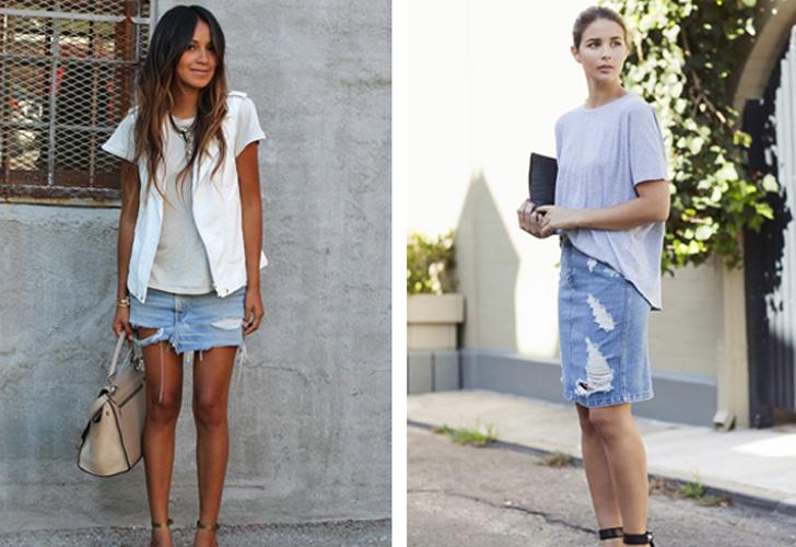 стильные короткие джинсовые юбки