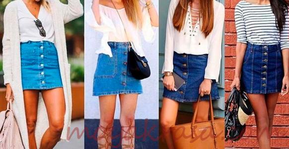короткие джинсовые юбки